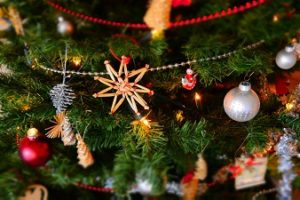 Christmas Ornaments on lit tree
