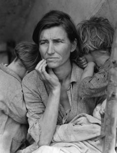 Woman and 2 children during the great depression